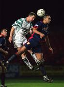 13 November 1998; Bo McKeever of Bray Wanderers in action against Paul Osam of St Patrick's Athletic during the Harp Lager National League Premier Division match between Bray Wanderers and St Patrick's Athletic at Carlisle Grounds in Bray, Wicklow. Photo by David Maher/Sportsfile.