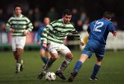 17 January 1999; Brian Morrisroe of Shamrock Rovers in action against Eoin Bennis of UCD during the Harp Lager National League Premier Division between UCD and Shamrock Rovers at Belfield Park in Dublin. Photo by Ray McManus/Sportsfile
