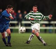 17 January 1999; Brian Morrisroe of Shamrock Rovers in actiom against Ciaran Kavanagh of UCD during the Harp Lager National League Premier Division match between UCD and Shamrock Rovers at Belfield Park in Dublin. Photo by Ray McManus/Sportsfile