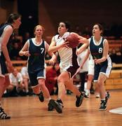 Tullamore's Susan Moran goes on the drive against Castlebar during the Junior Women's Final at the Sprite Cup Finals at the National Basketball Arena in Tallaght, Dublin. 25/1/98. Photograph Brendan Moran SPORTSFILE.