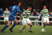 17 January 1999; Tony Cousins of Shamrock Rovers in actiom against Clive Delaney of UCD during the Harp Lager National League Premier Division match between UCD and Shamrock Rovers at Belfield Park in Dublin. Photo by Ray McManus/Sportsfile