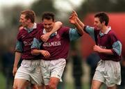 13 January 1999: Tony Izzi (Center) celebrates his first Goal with Sean Francis right and Liam O'Connor   left during the FAI Cup 1st Round Replay Garda v Cobh Ramblers Picture Credit Matt Browne/SPORTSFILE.