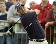 30 September 2004; Jerry Kelly watches his drive from the first tee box during round one of the American Express World Golf Championship 2004, Mount Juliet Golf Club, Thomastown, Co. Kilkenny. Picture credit; Matt Browne / SPORTSFILE