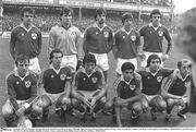 14 October 1981; The Republic of Ireland team, back, from left, Kevin Moran, Seamus McDonagh, Mark Lawrenson, Ronnie Whelan and Dave O'Leary. Front, from left, Dave Langan, Liam Brady, Frank Stapleton, Chris Hughton, Michael Robinson and Mick Martin. 1982 FIFA World Cup Qualifier, Republic of Ireland v France, Lansdowne Road, Dublin. Picture credit; Ray McManus / SPORTSFILE
