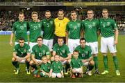15 October 2013; The Republic of Ireland team. Back row, from left, Anthony Stokes, Kevin Doyle, Marc Wilson, David Forde, Darron Gibson, Richard Dunne and John O'Shea, front row, from left, Seamus Coleman, Robbie Keane, James McCarthy and Andy Reid. 2014 FIFA World Cup Qualifier, Group C, Republic of Ireland v Kazakhstan, Aviva Stadium, Lansdowne Road, Dublin. Picture credit: David Maher / SPORTSFILE
