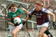11 September 2004; Marcella Heffernan, Mayo, in action against Lisa Cohill, Galway. Ladies Football Senior Championship Semi-Final, Mayo v Galway, O'Moore Park, Portlaoise, Co. Laois. Picture credit; Matt Browne / SPORTSFILE
