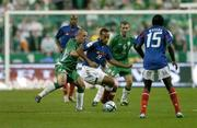 9 October 2004; Thierry Henry, France, in action against Stephen Carr, Republic of Ireland. FIFA World Cup 2006 Qualifier, France v Republic of Ireland, Stade de France, Paris, France. Picture credit; Brendan Moran / SPORTSFILE