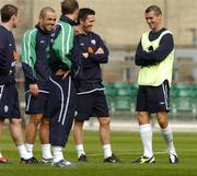 12 October 2004; Roy Keane, right, Republic of Ireland, in jovial mood with team-mates, left to right, Alan Quinn, Stephen Carr, Graham Barrett and Robbie Keane during squad training. Lansdowne Road, Dublin. Picture credit; David Maher / SPORTSFILE