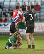 20 October 2013; Michael Leigh, left, and Paul McDonald, Arles - Killeen, during an altercation with Paul Cahillane, centre, and Cahir Healy, bottom, Portlaoise. Laois County Senior Club Football Championship Final, Portlaoise v Arles - Killeen, O'Moore Park, Portlaoise, Co. Laois. Picture credit: Barry Cregg / SPORTSFILE