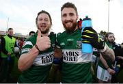 220 October 2013; Cahir Healy, left, and Zach Tuohy, Portlaoise, celebrate victory after the game. Laois County Senior Club Football Championship Final, Portlaoise v Arles - Killeen, O'Moore Park, Portlaoise, Co. Laois. Picture credit: Barry Cregg / SPORTSFILE