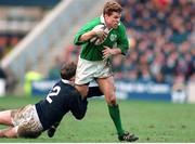 4 February 1995; Brendan Mullin, Ireland, in action against Scotland's Ian Jardine. Five Nations Rugby Championship, Scotland v Ireland, Murrayfield, Edinburgh, Scotland. Picture credit: David Maher / SPORTSFILE