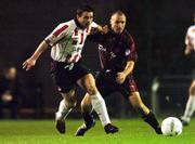 22 October 2004; Eddie McCallion, Derry City, in action against Tony Grant, Bohemians. eircom league, Premier Division, Bohemians v Derry City, Dalymount Park, Dublin. Picture credit; David Maher / SPORTSFILE