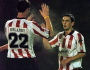 22 October 2004; Mark Farren, right, Derry City, celebrates after scoring his sides first goal with team-mate Clive Delaney. eircom league, Premier Division, Bohemians v Derry City, Dalymount Park, Dublin. Picture credit; David Maher / SPORTSFILE