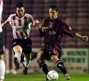 22 October 2004; Kevin Hunt, Bohemians, in action against Kevin Deery, Derry City. eircom league, Premier Division, Bohemians v Derry City, Dalymount Park, Dublin. Picture credit; David Maher / SPORTSFILE