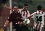 22 October 2004; Tony Grant, Bohemians, in action against  Peter Hutton, centre, and Gareth McGlynn, Derry City. eircom league, Premier Division, Bohemians v Derry City, Dalymount Park, Dublin. Picture credit; David Maher / SPORTSFILE