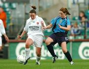 24 October 2004; Claire Mulholland, Dundalk, in action against Louise Kearney, UCD. 2004 FAI Ladies National Senior Cup Final, UCD v Dundalk, Lansdowne Road, Dublin. Picture credit; David Maher / SPORTSFILE