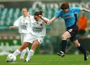 24 October 2004; Claire Mulholland, Dundalk, in action against Mazarello Sweeney, UCD. 2004 FAI Ladies National Senior Cup Final, UCD v Dundalk, Lansdowne Road, Dublin. Picture credit; David Maher / SPORTSFILE