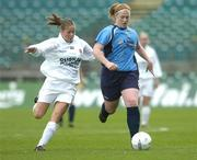24 October 2004; Mary Waldron, UCD, in action against Sharon Dromgoole, Dundalk. 2004 FAI Ladies National Senior Cup Final, UCD v Dundalk, Lansdowne Road, Dublin. Picture credit; Matt Browne / SPORTSFILE