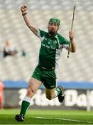 26 October 2013; Cahir Healy, Ireland, celebrates after scoring his side's first goal. Shinty International First Test, Ireland v Scotland, Croke Park, Dublin. Picture credit: Oliver McVeigh / SPORTSFILE
