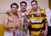 31 October 2004; Sean Og O hAilpin, left, Setanta O hAilpin and Aisake O hAilpin, Na Pairsaigh, pictured with the cup after the win against Cloyne. Cork County Senior  Hurling Final, Na Piarsaigh v Cloyne, Pairc Ui Chaoimh, Cork. Picture credit; Matt Browne / SPORTSFILE