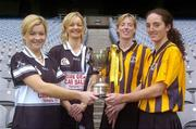 1 November 2004; Aoife Sheehan, left, and her sister Deirdre, second from left, both of Granagh-Ballingarry, Limerick, with Gillian Dillon Maher, second from right and team-mate Imelda Kennedy, right, both of St. Lachtain's of Freshford, Kilkenny, with the Bill Carroll Cup at a photocall ahead of the senior camogie Club Final between Granagh-Ballingarry, Limerick and St. Lachtain's of Freshford, Kilkenny. Croke Park, Dublin. Picture credit; Damien Eagers / SPORTSFILE
