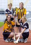 1 November 2004; Aoife Sheehan, Granagh-Ballingarry, Limerick, back left, with Gillian Dillon Maher, St. Lachtain's of Freshford, Kilkenny, back right, and front left, Imelda Kennedy, St. Lachtain's of Freshford, Kilkenny and front right, Deirdre Sheehan from Granagh-Ballingarry, Limerick, and the Bill Carroll cup, at a photocall ahead of the senior camogie club Final between Granagh-Ballingarry, Limerick and St. Lachtain's of Freshford, Kilkenny. Croke Park, Dublin. Picture credit; Damien Eagers / SPORTSFILE