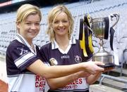 1 November 2004; Granagh-Ballingarry, Limerick, players Aoife Sheehan, left and her sister Deirdre with the Bill Carroll Cup at a photocall ahead of the senior camogie Club Final between Granagh-Ballingarry, Limerick and St. Lachtain's of Freshford, Kilkenny. Croke Park, Dublin. Picture credit; Damien Eagers / SPORTSFILE
