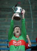 27 October 2013; Rathnew captain Peter Dignam lifts the cup. Wicklow County Senior Club Football Championship Final, Baltinglass v Rathnew, County Grounds, Aughrim, Co. Wicklow. Picture credit: Matt Browne / SPORTSFILE
