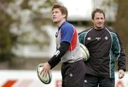 9 November 2004; Ronan O'Gara,left, and David Humphreys during Ireland rugby squad training. Terenure Rugby Club, Dublin. Picture credit; Matt Browne / SPORTSFILE