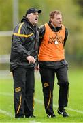 3 November 2013; Dr. Crokes joint managers Noel O'Leary, left, and Vince Casey. AIB Munster Senior Club Football Championship, Quarter-Final, Dr. Crokes, Kerry, v Castlehaven, Cork. Dr. Crokes GAA Club, Lewis Road, Killarney, Co. Kerry. Picture credit: Stephen McCarthy / SPORTSFILE