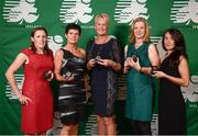 2 November 2013; National Triathlon Championships - Standard Distance bronze medal winners, from left, Katie Cooke, Cork TC, Co. Cork, Anne McGrane, Wicklow TC, Anne Hannan, Helen French and Anna Crooks, GoTri TC, Gort, Co. Galway, at the Triathlon Ireland Awards Dinner 2013, sponsored by Vodafone, in the Aviva Stadium, Lansdowne Road, Dublin. Picture credit: Paul Mohan / SPORTSFILE
