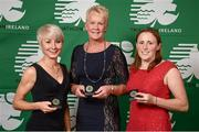 2 November 2013; National Triathlon Championships - Middle Distance silver medal winners, from left, Tamara Maxantova, Anne Hannan and Katie Cooke, Cork TC, Co. Cork, at the Triathlon Ireland Awards Dinner 2013, sponsored by Vodafone, in the Aviva Stadium, Lansdowne Road, Dublin. Picture credit: Paul Mohan / SPORTSFILE