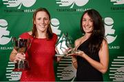 2 November 2013; Katie Cooke, left, Cork TC, Co. Cork, and Anna Crooks, GoTri, Gort, Co. Galway, who received the Kinetica Sprint Distance National Championships First and Third Overall Female awards respectively at the Triathlon Ireland Awards Dinner 2013, sponsored by Vodafone, in the Aviva Stadium, Lansdowne Road, Dublin. Picture credit: Paul Mohan / SPORTSFILE