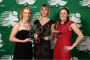 2 November 2013; Rachel Glendon, left, Loughlinstown, Co. Dublin, Jennifer Duffy, Piranah TC, Co. Dublin, and Katie Cooke, right, Cork TC, Co. Cork, who received the Kinetica Middle Distance National Championships 3rd, 1st and 2nd overall Female Awards respectively at the Triathlon Ireland Awards Dinner 2013, sponsored by Vodafone, in the Aviva Stadium, Lansdowne Road, Dublin. Picture credit: Paul Mohan / SPORTSFILE