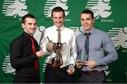 2 November 2013; Ian Farrell, left, Pulse TC, Co. Dublin, Niall Somers, Belpark TC, Co. Dublin, and Mark Horan, Pulse TC, Co. Dublin, who received the Kinetica Middle Distance National Championships 3rd, 1st and 2nd overall Male Awards respectively at the Triathlon Ireland Awards Dinner 2013, sponsored by Vodafone, in the Aviva Stadium, Lansdowne Road, Dublin. Picture credit: Paul Mohan / SPORTSFILE