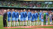 3 November 2013; The Drogheda United team and manager Mick Cooke stand for the National Anthem before the game. FAI Ford Cup Final, Drogheda United v Sligo Rovers, Aviva Stadium, Lansdowne Road, Dublin. Picture credit: Brendan Moran / SPORTSFILE