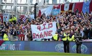 3 November 2013; Drogheda United supporters hold up a banner during a minute silence in memory of the late Shane Whelan. FAI Ford Cup Final, Drogheda United v Sligo Rovers, Aviva Stadium, Lansdowne Road, Dublin. Picture credit: Brendan Moran / SPORTSFILE