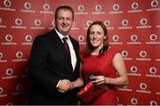 2 November 2013; Katie Cooke, Cork TC, Co. Cork, receiving her National Series gold medal from Gerry Nixon, Brand and Communications Manager, Vodafone Ireland, at the Triathlon Ireland Awards Dinner 2013, sponsored by Vodafone, in the Aviva Stadium, Lansdowne Road, Dublin. Picture credit: Paul Mohan / SPORTSFILE
