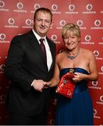 2 November 2013; Heather Bamford, Olympian TC, Belfast, Co. Antrim, receiving her National Series gold medal from Gerry Nixon, Brand and Communications Manager, Vodafone Ireland, at the Triathlon Ireland Awards Dinner 2013, sponsored by Vodafone, in the Aviva Stadium, Lansdowne Road, Dublin. Picture credit: Paul Mohan / SPORTSFILE