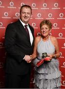 2 November 2013; Marie Casey Breen, Wexford TC, receiving her National Series gold medal from Gerry Nixon, Brand and Communications Manager, Vodafone Ireland, at the Triathlon Ireland Awards Dinner 2013, sponsored by Vodafone, in the Aviva Stadium, Lansdowne Road, Dublin. Picture credit: Paul Mohan / SPORTSFILE