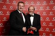 2 November 2013; David Hawcroft, Tri an Mhi TC, Co. Meath, receiving his National Series gold medal from Gerry Nixon, Brand and Communications Manager, Vodafone Ireland, at the Triathlon Ireland Awards Dinner 2013, sponsored by Vodafone, in the Aviva Stadium, Lansdowne Road, Dublin. Picture credit: Paul Mohan / SPORTSFILE