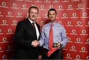 2 November 2013; Michael Macken, from Athlone TC, Co. Athlone, receiving his National Series gold medal from Gerry Nixon, Brand and Communications Manager, Vodafone Ireland, at the Triathlon Ireland Awards Dinner 2013, sponsored by Vodafone, in the Aviva Stadium, Lansdowne Road, Dublin. Picture credit: Paul Mohan / SPORTSFILE
