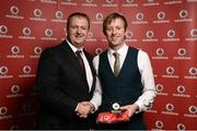 2 November 2013; Aidan Callaghan, 24/7 TC, Co. Donegal, receiving his National Series gold medal from Gerry Nixon, Brand and Communications Manager, Vodafone Ireland, at the Triathlon Ireland Awards Dinner 2013, sponsored by Vodafone, in the Aviva Stadium, Lansdowne Road, Dublin. Picture credit: Paul Mohan / SPORTSFILE