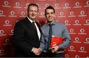 2 November 2013; Mark Horan, Pulse TC, Co. Dublin, receiving his National Series gold medal from Gerry Nixon, Brand and Communications Manager, Vodafone Ireland, at the Triathlon Ireland Awards Dinner 2013, sponsored by Vodafone, in the Aviva Stadium, Lansdowne Road, Dublin. Picture credit: Paul Mohan / SPORTSFILE