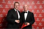 2 November 2013; John Bruton, Athlone TC, Co. Westmeath, receiving his National Series gold medal from Gerry Nixon, Brand and Communications Manager, Vodafone Ireland, at the Triathlon Ireland Awards Dinner 2013, sponsored by Vodafone, in the Aviva Stadium, Lansdowne Road, Dublin. Picture credit: Paul Mohan / SPORTSFILE
