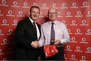 2 November 2013; Gary Swenarton, Peninsula TC, Bangor, Co. Down, receiving his National Series gold medal from Gerry Nixon, Brand and Communications Manager, Vodafone Ireland, at the Triathlon Ireland Awards Dinner 2013, sponsored by Vodafone, in the Aviva Stadium, Lansdowne Road, Dublin. Picture credit: Paul Mohan / SPORTSFILE