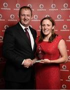 2 November 2013; Katie Cooke, Cork TC, Co. Cork, receiving the Vodafone National Series awrad for 2nd Overall Female from Gerry Nixon, Brand and Communications Manager, Vodafone Ireland, at the Triathlon Ireland Awards Dinner 2013, sponsored by Vodafone, in the Aviva Stadium, Lansdowne Road, Dublin. Picture credit: Paul Mohan / SPORTSFILE
