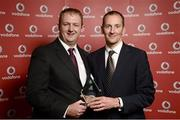 2 November 2013; Trevor Woods, Cork TC, receiving the Vodafone National Series award for 3rd Overall Male from Gerry Nixon, Brand and Communications Manager, Vodafone Ireland, at the Triathlon Ireland Awards Dinner 2013, sponsored by Vodafone, in the Aviva Stadium, Lansdowne Road, Dublin. Picture credit: Paul Mohan / SPORTSFILE