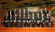 26 November 2004; The 2004 Vodafone All-Star Hurling team, back row, from left, Dan Shanahan, Waterford, Niall McCarthy, Cork, Damien Fitzhenry, Wexford, Wayne Sherlock, Cork, Diarmuid O'Sullivan, Cork, Tommy Walsh, Kilkenny, JJ Delaney, Kilkenny, Ronan Curran, Cork and Sean Og O hAilpin, Cork. Front, from left, Henry Shefflin, Kilkenny, Eoin Kelly, Tipperary, Brian Corcran, Cork, Ken McGrath, Waterford, Paul lynn, Waterford, Sean Kelly, President of the GAA, An Taoiseach Bertie Ahern TD, Paul Donovan, Chief Executive, Vodafone Ireland, Jerry O'Connor, Cork and Young Hurler of the Year Brian Murphy, Cork, at the 2004 Vodafone GAA All-Star Awards. Citywest, Dublin. Picture credit; Brendan Moran / SPORTSFILE