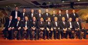 26 November 2004; The 2004 Vodafone All-Star Hurling team back row, from left, Dan Shanahan, Waterford, Niall McCarthy, Cork, Damien Fitzhenry, Wexford, Wayne Sherlock, Cork, Diarmuid O'Sullivan, Cork, Tommy Walsh, KIlkenny, JJ Delaney, Kilkenny, Ronan Curran, Cork and Sean Og O hAilpin. Front, from left, Henry Shefflin, Kilkenny, Eoin Kelly, Tipperary, Brian Corcoran, Cork, Ken McGrath, Waterford, Paul Flynn, Waterford, Sean Kelly, President of the GAA, An Taoiseach Bertie Ahern TD, Paul Donovan, Chief Executive, Vodafone Ireland, Jerry O'Connor, Cork and Young Hurler of the Year Brian Murphy, Cork, at the 2004 Vodafone GAA All-Star Awards. Citywest, Dublin. Picture credit; Ray McManus / SPORTSFILE